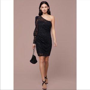 BEBE One Shoulder Lace Dress One Sleeve Sz 6 NWT